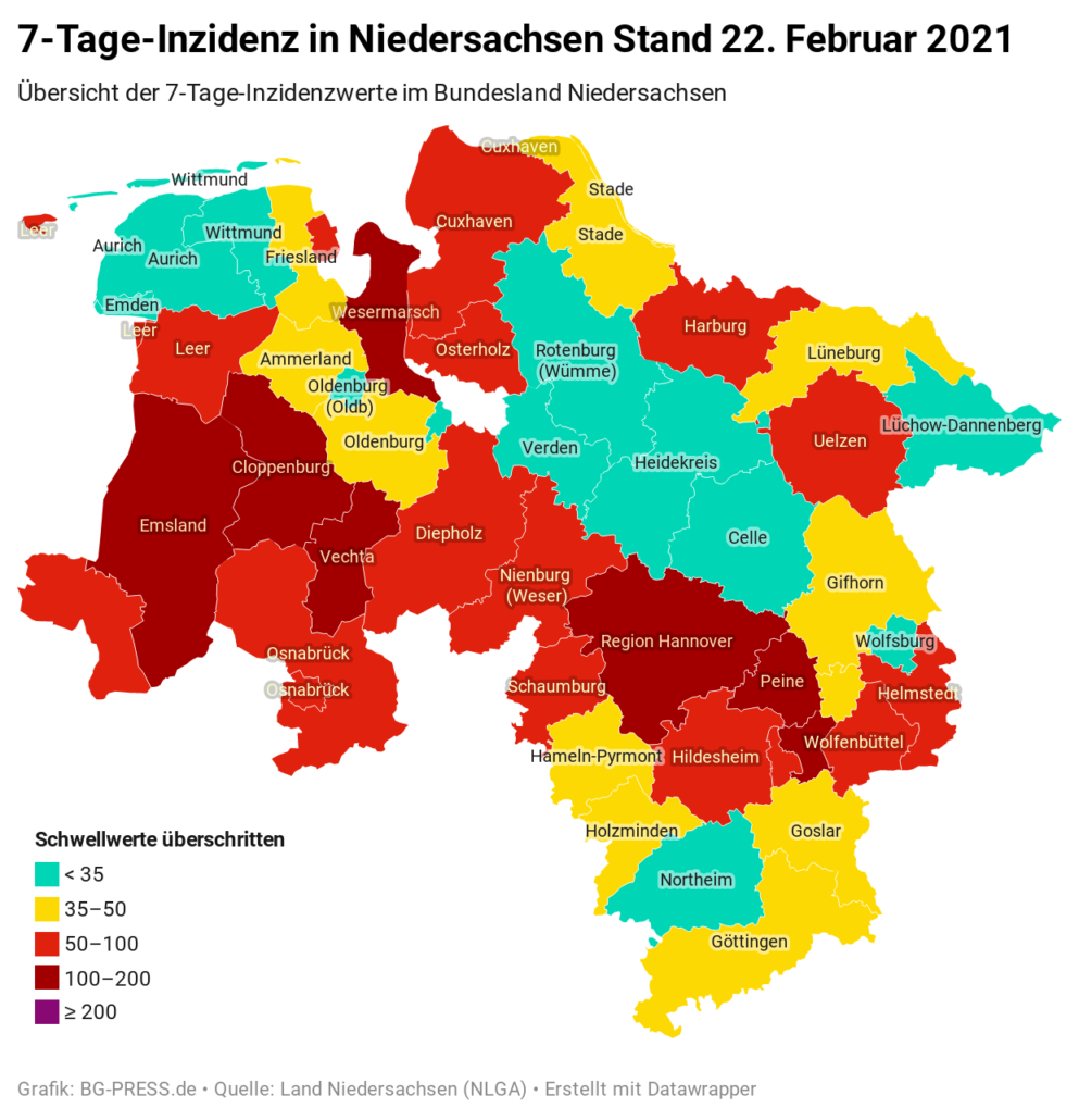JOgNY 7 tage inzidenz in niedersachsen stand 22 februar 2021 nbsp