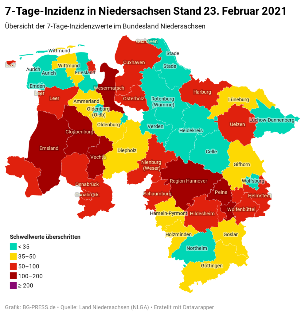 JOgNY 7 tage inzidenz in niedersachsen stand 23 februar 2021 nbsp