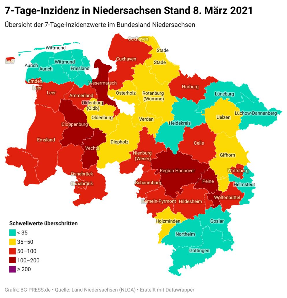JOgNY 7 tage inzidenz in niedersachsen stand 8 m rz 2021 nbsp