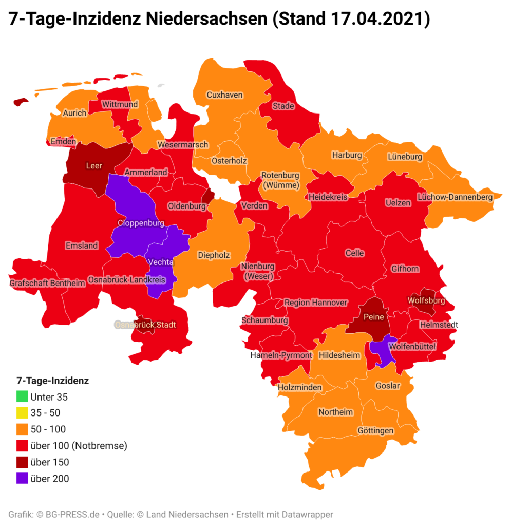 NLZCn 7 tage inzidenz niedersachsen stand 17 04 2021 br br