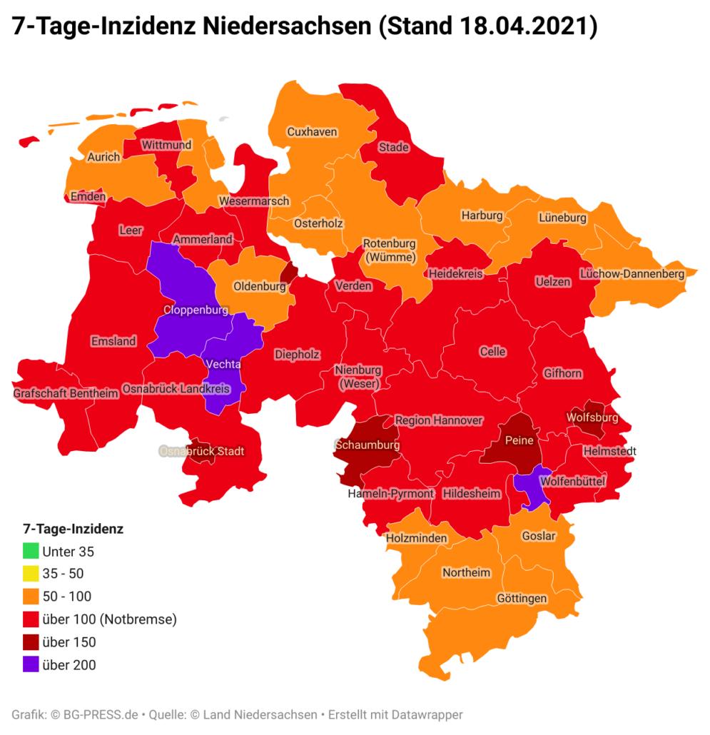 NLZCn 7 tage inzidenz niedersachsen stand 18 04 2021 br br