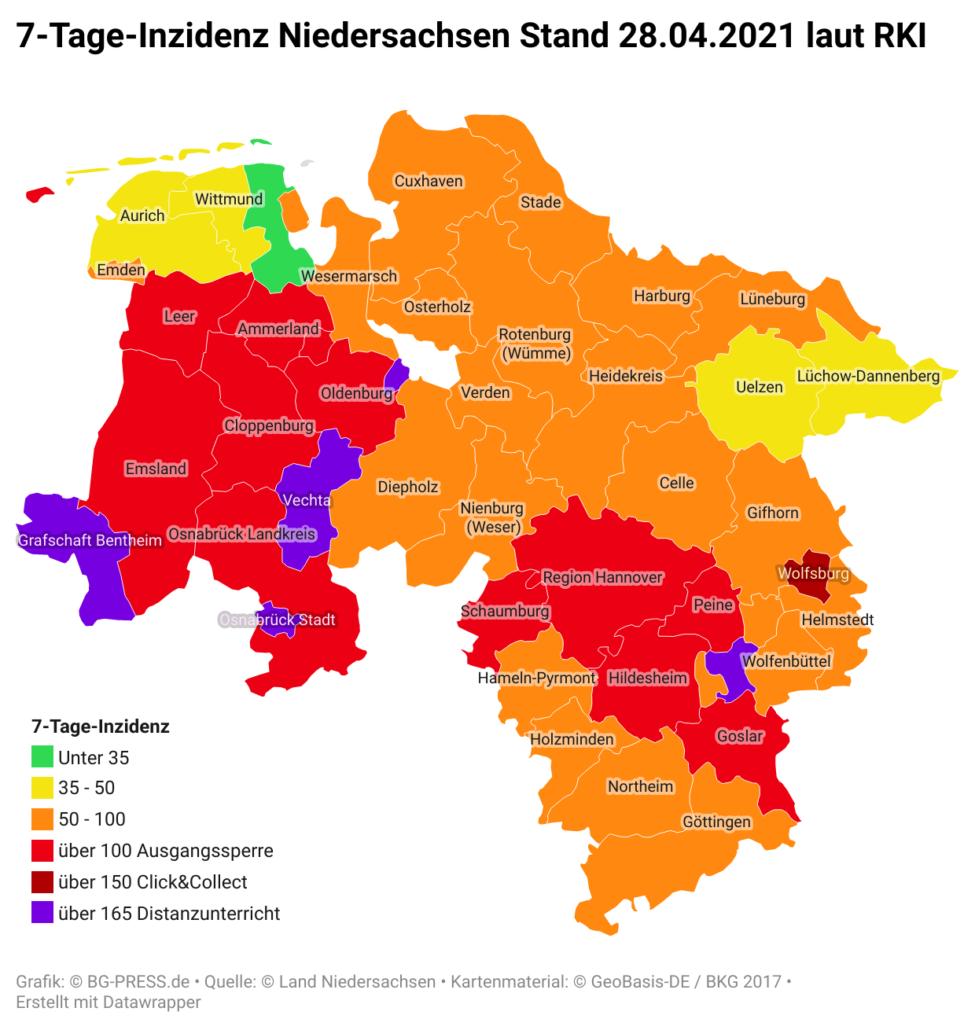 mPUpj 7 tage inzidenz niedersachsen stand 28 04 2021 laut rki nbsp br br