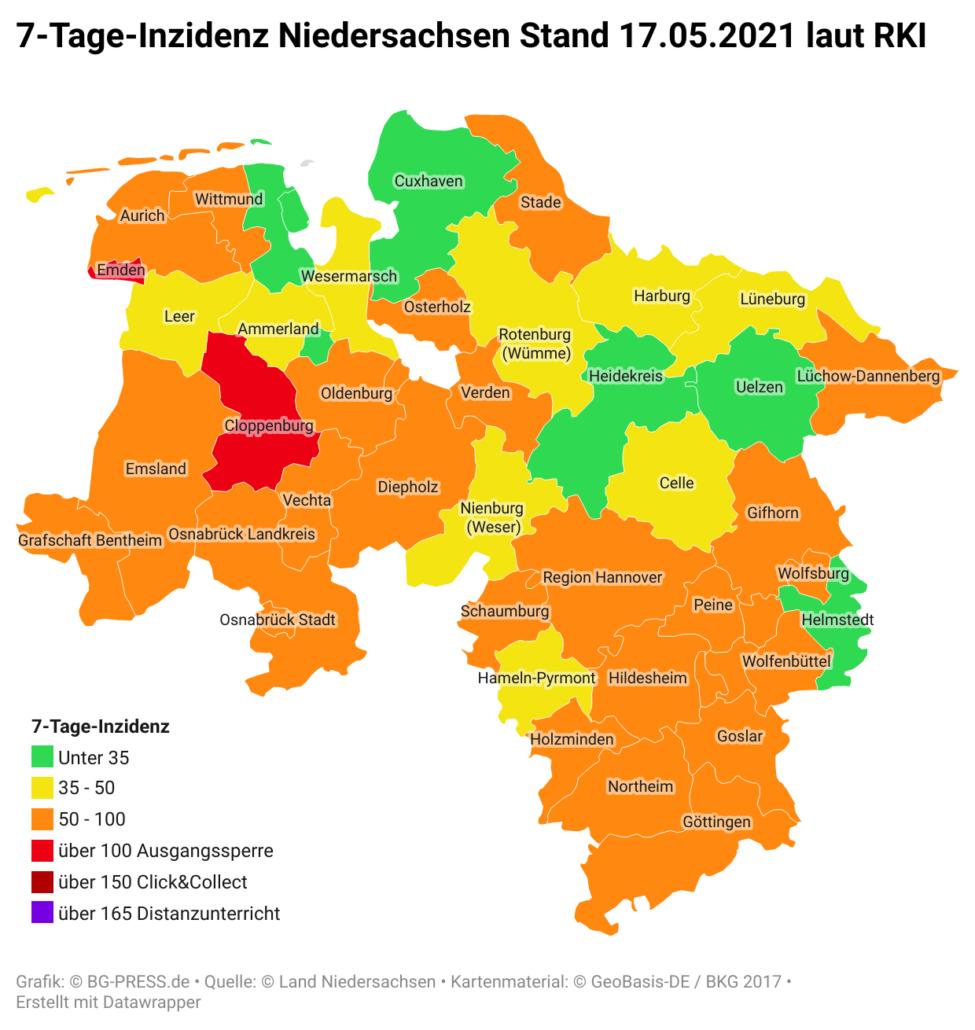 mPUpj 7 tage inzidenz niedersachsen stand 17 05 2021 laut rki nbsp br br
