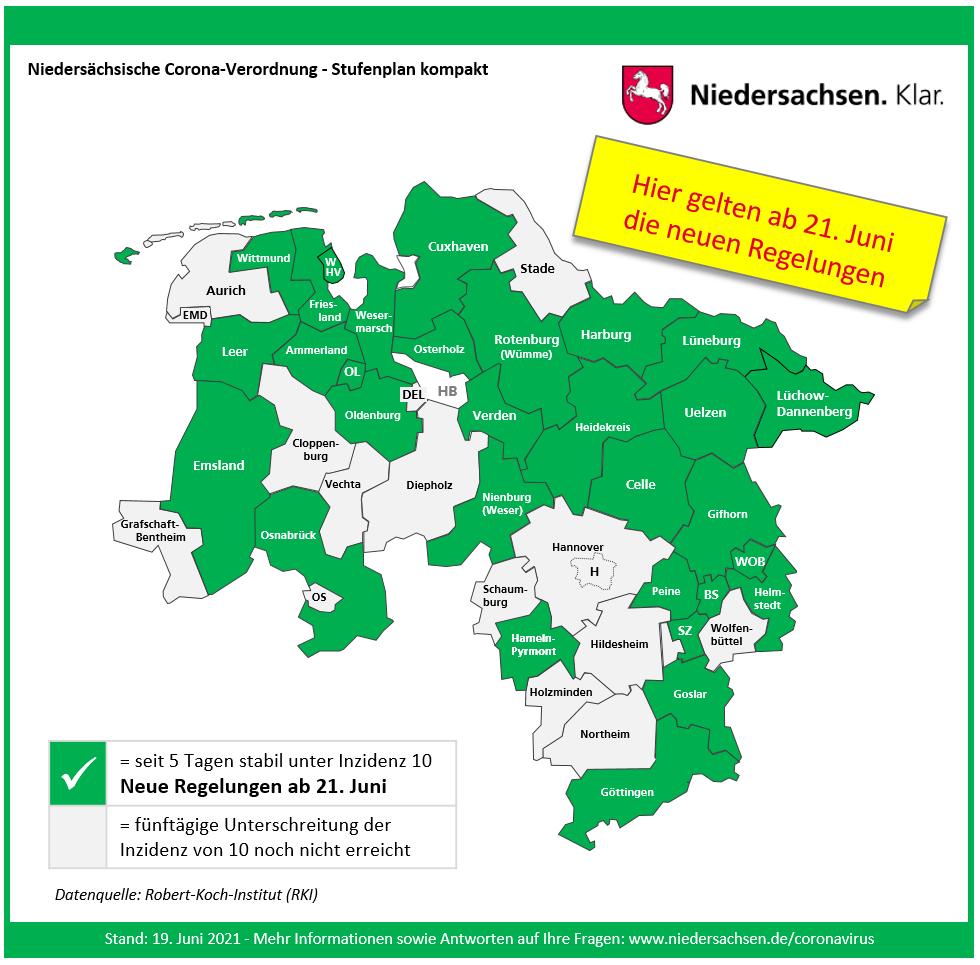 2021 06 19 Übersicht Landkreise kreisfreie Städte mit Regelungen Stufe 0 ab 21. Juni